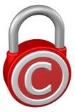 Concept: padlock with sign copyright. Stock Photos