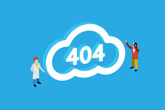 Concept page 404. Design 404 error. Illustration error page not found. Flat people. Isometric vector illustration Royalty Free Stock Photos