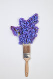 Concept of a paint brush drawing with lilac blue flowers Royalty Free Stock Photo
