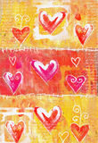 Concept painting heart valentines card. Valentine background. Hand drawn. Grunge heart. Love heart design. Poster.  Stock Photography