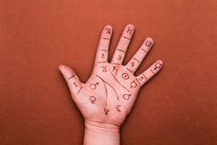 Concept of palmistry Stock Photos