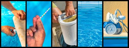Panoramic collage close-up maintenance of a private pool royalty free stock image