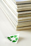 Concept of paper recycling. On white background Stock Photos