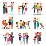 Concept of Parents Day on White Background Flat Royalty Free Stock Images