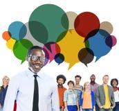 Concept parlant de communication de message occasionnel de personnes Image libre de droits