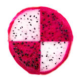 Concept of part slice red and white dragon fruit, Pitaya or Cact. Us is isolated on white background Stock Photo