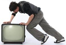 Concept parti de la poussée TV d'homme photo libre de droits