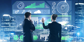 Concept of partnership and cooperation with people using virtual interface Stock Image