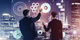 Concept of partnership and cooperation with people using virtual Stock Images