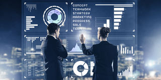 Concept of partnership and cooperation with people using virtual Stock Image