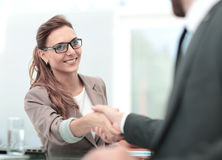 Concept of partnership - handshake of business partners royalty free stock images