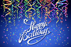 Concept party on blue background top view happy birthday confetti vector - modern flat design style. Art Royalty Free Stock Photo