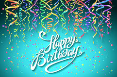 Concept party on blue background top view happy birthday confetti vector - modern flat design style. Art Royalty Free Stock Image