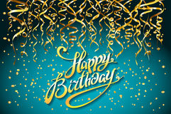Concept party on blue background top view happy birthday gold confetti vector - modern flat design style. Art Stock Photography