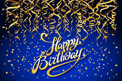 Concept party on blue background top view happy birthday gold confetti vector - modern flat design style. Art Stock Images
