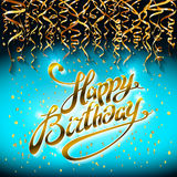 Concept party on blue dark background top view happy birthday gold confetti vector - modern flat design style. Art Royalty Free Stock Images