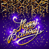 Concept party on blue dark background top view happy birthday gold confetti vector - modern flat design style. Art Stock Photo