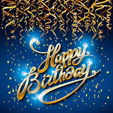Concept party on blue dark background top view happy birthday gold confetti vector - modern flat design style. Art Royalty Free Stock Photo