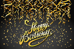 Concept party on dark background top view happy birthday gold confetti vector - modern flat design style. Art Stock Photo