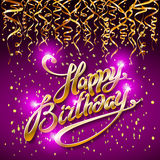 Concept party on dark background top view happy birthday gold confetti vector - modern flat design style. Art Royalty Free Stock Photography