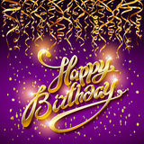 Concept party on dark background top view happy birthday gold confetti vector - modern flat design style. Art Royalty Free Stock Image
