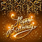 Concept party on dark background top view happy birthday gold confetti vector - modern flat design style. Art Stock Photos