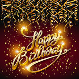 Concept party on dark background top view happy birthday gold confetti vector - modern flat design style. Art Stock Images