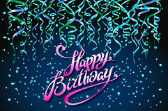 Concept party on dark blue background top view happy birthday confetti vector - modern flat design style. Art Royalty Free Stock Photography