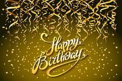 Concept party on gold background top view happy birthday gold confetti vector - modern flat design style. Art Stock Image