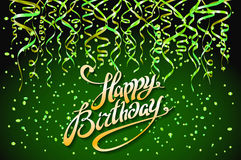 Concept party on green background top view happy birthday confetti vector - modern flat design style. Art Stock Photos
