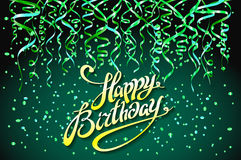 Concept party on green background top view happy birthday confetti vector - modern flat design style. Art Stock Images