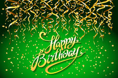 Concept party on green background top view happy birthday gold confetti vector - modern flat design style. Art Royalty Free Stock Image