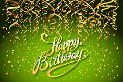 Concept party on green background top view happy birthday gold confetti vector - modern flat design style. Art Stock Images