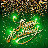Concept party on green dark background top view happy birthday gold confetti vector - modern flat design style. Art Stock Image