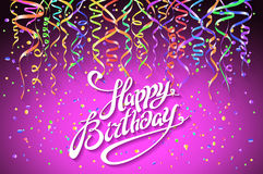 Concept party on pink background top view happy birthday confetti vector. Art Royalty Free Stock Photography