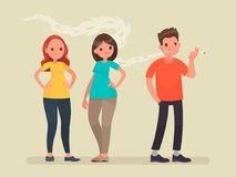 Concept of passive smoking. Discontent non-smoking people. Vector illustration Royalty Free Stock Image
