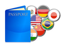 Concept of the passport and countries of the world Royalty Free Stock Images