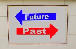 Concept of past and future. Concept of future and past written on the sign in the wall Royalty Free Stock Photography