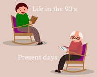 Concept of past and future. Man sitting in rocking chair. Young man reading newspaper. Cute man at home. Senior man checks the. News feed on the tablet.Vector vector illustration