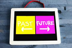 Concept of past and future written on blackboard. With blue wooden backgrou Stock Image