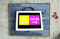 Concept of past and future written on blackboard. With blue wooden background hanging on the wall Royalty Free Stock Photo