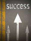 Concept path to success as an asphalt road with markings and tex Stock Photos