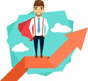 Concept path to success. The concept path to success. Super Young businessman standing on arrow. Happy guy Royalty Free Stock Image