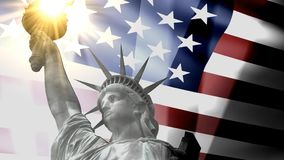 Concept patriotic animation, Statue Liberty with American flag. stock video footage
