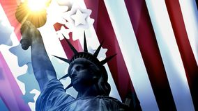 Concept patriotic animation, Statue Liberty with American flag. stock footage