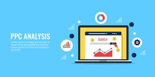 PPC analysis, data research for ppc campaign, search marketing data. Pay per click. Concept of pay per click data analysis, search marketing performance report Stock Photo
