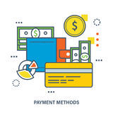 Concept of payment methods. Color Line icons. Flat Vector illustration Royalty Free Stock Image
