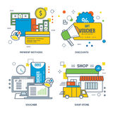 Concept of payment methods, discount, voucher, shop store. Color Line icons collection Royalty Free Stock Photos