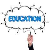 Concept  pencil idea hand isolate write blue education. Concept  pencil idea hand isolate write blue education illustration vector Royalty Free Stock Photo