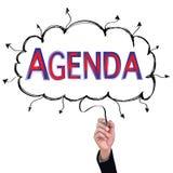 Concept  pencil idea hand isolate write blue and red agenda. Concept  pencil idea hand isolate write blue and red agenda business illustration vector Royalty Free Stock Photos